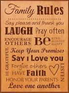 """P. Graham Dunn, Family Rules Carved Plaque Picture, 15.5"""" x 11.5"""" SER09"""
