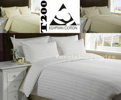 Luxury 100% TC200 Egyptian Cotton Duvet Cover Pillow Cases Set Stripe All Sizes