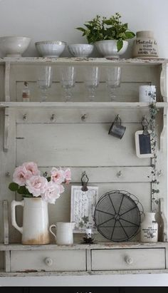Beautiful Dresser Where I Can Hang Up My Collection Of Diffe Mugs Country Shelvescountry Farmhousecountry Kitchenscountry