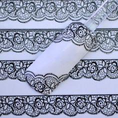 LNRRABC 1 Sheet 3D DIY New Charm Women Black Lace Nail Art Stickers Flower Decals Nail Accessories Decals #Affiliate