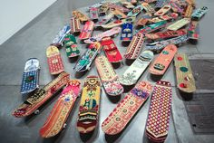 For more inspiration follow on IG: THEGYPSETTER  skateboards with prayer rugs by mounir fatmi at miami UNTITLED art fair