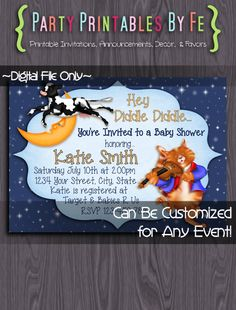 Printable Baby Shower Invitation ~ Hey Diddle Diddle Baby Shower ~ I96