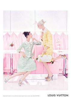 Louis Vuitton S/S 2012 ad campaign, featuring Daria Strokous and Kati Nescher. Shot by Steven Miesel. Love the pastels!
