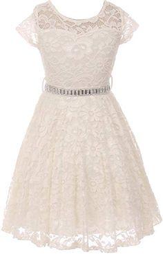 995e78ce10 Amazon.com  Big Girl Cap Sleeve Lace Skater Stone Belt Flower Girls Dresses  (