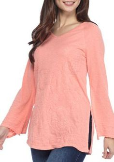 Crown  Ivy   Petite Embroidered Knit Top
