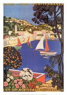 Cote dAzur - Vintage French Poster Art of the French Riviera Retro Poster, Vintage Travel Posters, Cars Vintage, Vintage Art, Vintage Illustration, Framed Artwork, Wall Art, Framed Canvas, Canvas Art