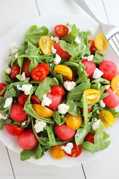 feta watermelon arugula salad with honey lime vinaigrette + 4 other delicious recipes in this week's Summer Favorites meal plan | Rainbow Delicious