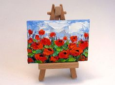 Title: Red Poppies No.2 Original ACEO Oil Painting. Painting Size: 3.5 x 2.5 on Mini Canvas Panel. Please add 3 usd. and select the drop down menu on the top right if you want an easel with it.  The sides are also painted, very neat cute fine art for your collection.  These highly collectible miniature art pieces, also known as ACEOs (Art Cards, Editions and Originals) can be placed anywhere. Display them in groupings on the wall, set them on an easel unframed on a shelf, have them framed…