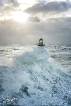 """~~ Waves engulf the lighthouse that belongs to """"HELL"""" lighthouse places category, Brittany, France by Breizh'scapes Photographes ~~ Photograph AR MEN by Breizh& Photographes on No Wave, Lighthouse Pictures, Foto Poster, Stormy Sea, Jolie Photo, Ocean Waves, Cool Photos, Beautiful Places, Scenery"""