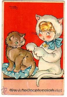 Postal Mari Pepa.  1946  ¡miau! Aquí hay gato encerrado