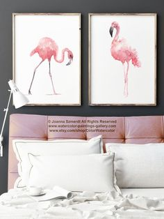Pink Flamingo Set of 2 Watercolor Paintings. Two Birds Nursery Wall Decor. Pink Abstract Painting Gift Idea. Flamingos Watercolor Illustration