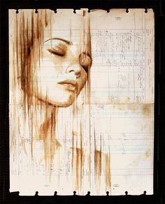 Portraits Painted with Coffee on Century-Old Ledger Paper by Michael Aaron Williams http://www.thisiscolossal.com/2013/08/coffee-portraits