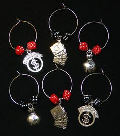 6 Winner at Casino Wine Glass Charms NEW Dice Poker Cards Money Bags Jackpot