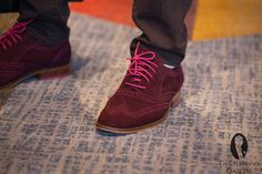 Burgundy suede shoes with pink accents