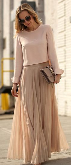 nude blouse with maxi skirt