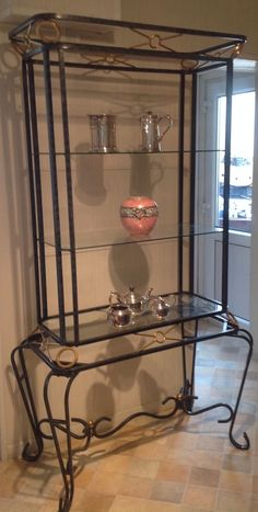 Glass And Ornate Wrought Iron Shelves Display - Elegant Look | eBay