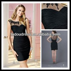 SH43 New Fashion Fancy European Style Flapper Crystals Beaded See Through Tight Black Sexy Lady Short Homecoming Dress $70~$95