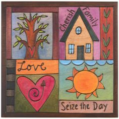 """Sticks creates this artistic one-of-a-kind plaque, constructed of hard wood. Hand drawn whimsical designs are burnt in, and then painted. * Available Sizes: Large 10""""W. x 10""""H. * Signed, Dated Anythin"""