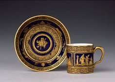 A Sèvres cup and saucer, said to have been given by the Duke of Dorset, Dorset Ambassador to Paris from 1783 - 1789, to Marie Antoinette.