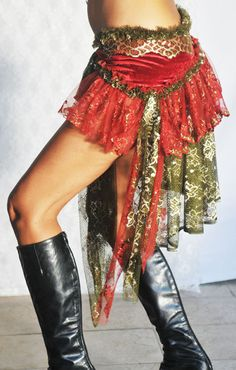 Burlesque Tribal Bellydance Red & Gold Gypsy Bustle Belt in Velvet and Lace by PoisonBabe