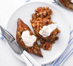 Baked sweet potatoes & beans