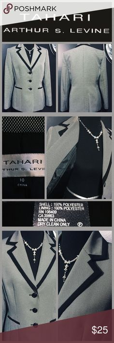 """TAHARI BLAZER TAHARI Arthur S. Levine - Perfect blazer for the corporate world!!  Pairs well with black skirts, slacks and solid dresses.  Lighting was playing up so please look at Photo #4 and photo #2 top left for color accuracy.  This beautiful blazer is fully lined and was worn only a couple of times.  Sleeves measure 25"""" from shoulder to cuff and length is 28"""" from back collar to hem.  Armpit to armpit is 21"""" when laying flat. Blazer is in PERFECT CONDITION and ready to be worn!! 💕…"""