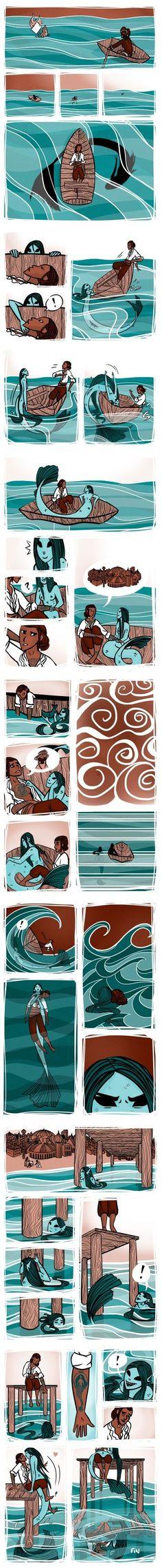 Aww, True love between man and mermaid. - Aww, True love between man and mermaid. Comics Story, Bd Comics, Cute Comics, Cute Stories, Short Stories, Short Comics, Merfolk, Comic Strips, Amazing Art