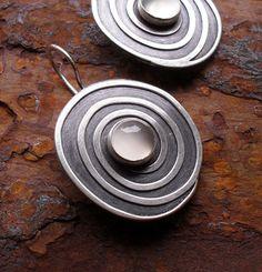 Sterling Silver & Moonstone Spiral Earrings. $135.00, via Etsy.