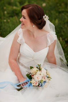 peach bouquet + blue ribbon & gorgeous wedding dress by Karen Willis Holmes | Jessica Jones Photography