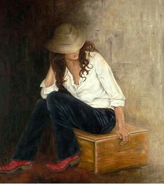 Erica Hopper - Red Boots Daughter - Search Gallery One for Abstract & Contemporary limited edition prints, giclee canvases and original paintings by internationally-known artists Red Boots, Portrait Art, Portraits, American Artists, Figurative Art, Art Images, Art Photography, Art Gallery, Impressionism