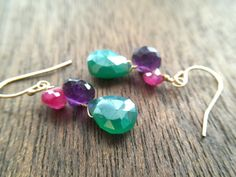 Chunky wire wrapped Ruby Moonstone, Amethyst, and Mystic Pearl Finish Green Onyx briolettes in 14kt gold-filled