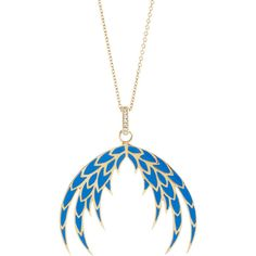 House of Waris Blue Enameled Plumage Pendant Necklace.