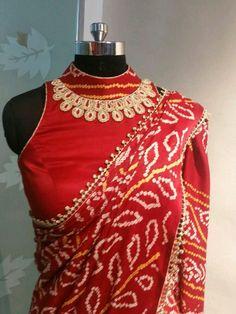 Saree Blouse Neck Designs, Sari Blouse Designs, Designer Blouse Patterns, Fancy Blouse Designs, Bandhani Dress, Stylish Blouse Design, Indian Designer Wear, Jeans, Ghagra Choli