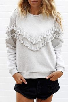 Long Sleeve Fringed Solid Color T-Shirt