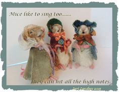 Little mohair and needle felted singers, by Jeri Landers.