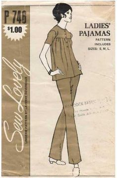 Sew Lovely P746 746 UNCUT Vintage 1970 s Pajamas Sewing Pattern Misses   Size Small-Medium a30164069