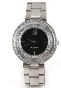 Paidu Women Quartz Watch Black Dial and Silver Color Steel Band Wrist Watch 58938