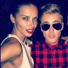 """Pin for Later: Stars Double the Fun in This Week's Cutest Celebrity Candids  """"I think she foreign, I think she foreign,"""" Justin Bieber captioned this photo of himself and Adriana Lima. Source: Instagram user justinbieber"""