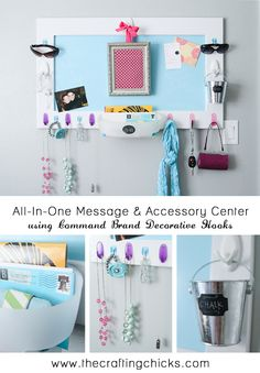 Create an amazing All-In-One Message & Accessory Center using a magnet board and Command™ Brand decorative hooks! #damagefreeDIY @Patricia Roughen