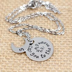 I Love You To The Moon and Back, Moon and Back Necklace, Personalized Hand Stamped Mother Necklace, Stainless Steel Moon and Back Necklace by ANNBIJOUXNEWYORK on Etsy