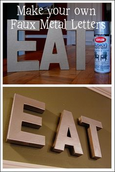 Check it out Make your own faux metal letters for a fraction of the cost! The post Make your own faux metal letters for a fraction of the cost!… appeared first on Derez Decor . Home Projects, Home Crafts, Fun Crafts, Diy Home Decor, Metal Projects, Metal Crafts, Art Decor, Inexpensive Home Decor, Frugal