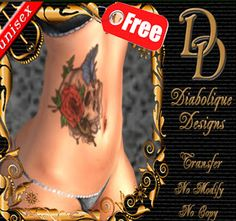 Second Life Freebies and more: Skull Unisex Tattoo