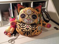 Finished Candy Cat Bag by Wood Mouse & Bobbit www.facebook.com/WoodMouse.and.Bobbit.