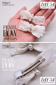Victoria Pearl Bow Hair clips set