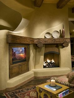 fireplace mantels 16 For Living Room Southwestern Home, Southwest Decor, Southwest Style, Adobe Haus, Earthship Home, Traditional Family Rooms, Architecture Design, Tadelakt, Earth Homes