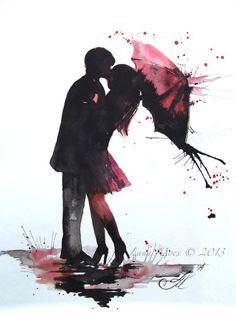 Liebe Paris Romantik Kiss Red Umbrella Original Aquarell Gemälde, zeitgenössische moderne Wand Kunst Abbildung Startseite Wand Dekor