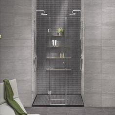 En mørk vegg i dusj SAP Kaleido Grigio og Cenere