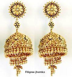 Gold Jhumka. Description by Pinner Mahua Roy Chowdhury