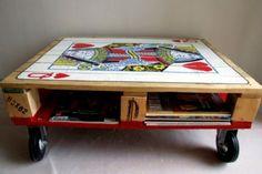 paletten möbel selbst basteln DIY ideen  rollen tischregal