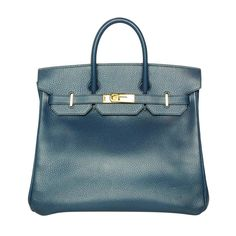 HERMES Marine Bleu Ardennes Leather 32cm HAC Birkin Bag